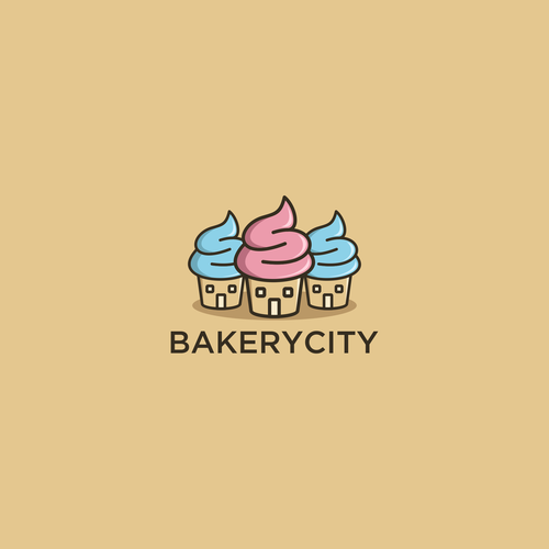 Cupcake design with the title 'Bakery City'