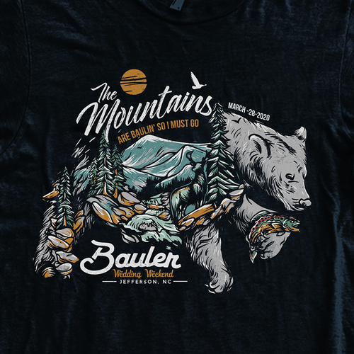 Bear t-shirt with the title 'Outdoor Wedding tee'