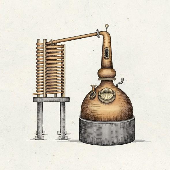 Industrial artwork with the title 'Beverage distillation equipment'