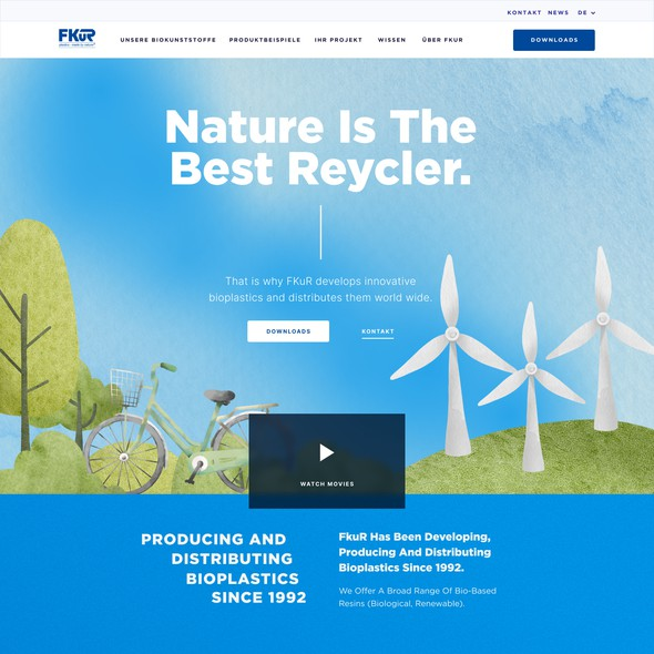 Nature website with the title 'Bioplastic Landing page '