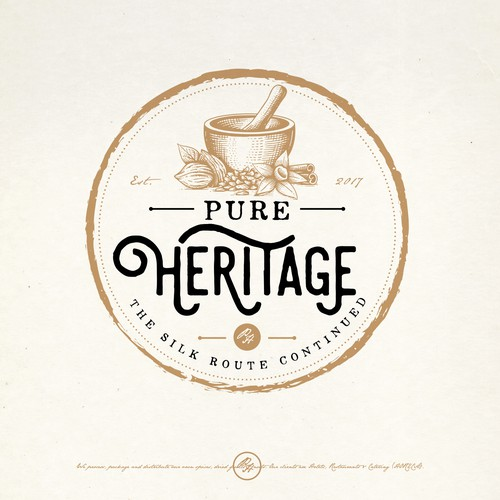 Spice design with the title 'PURE HERITAGE LOGO PROPOSAL'