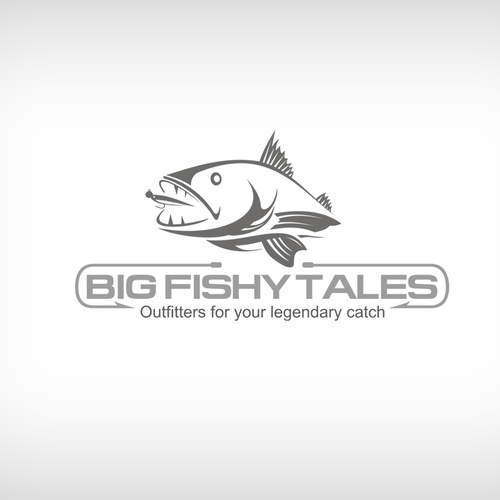 Fly fishing design with the title 'The stuff of Legend... seeking an amazing Big Fishy Tales logo!'