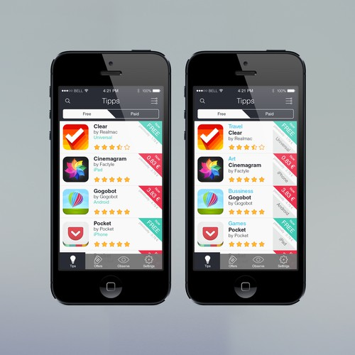 IPhone design with the title 'App Design for iOS-Searchengine'