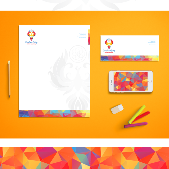 Mosaic brand with the title 'Brand identity design for Creative Rising'