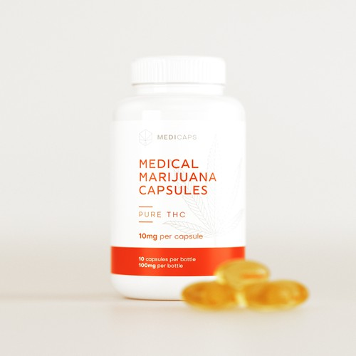 Orange label with the title 'Label Design for a Medical THC Capsules'