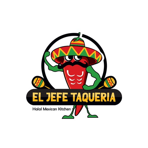 Mexican design with the title 'A mascot logo for Halal Mexican Restaurant.'