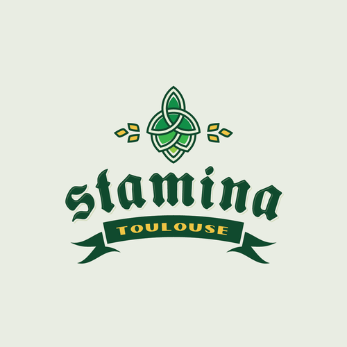 Brewing company logo with the title 'Celtic themed logo for STAMINA Brewing Co.'