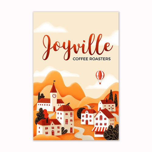 Artistic illustration with the title 'Illustration for coffee brand Joyville Coffee Roasters'