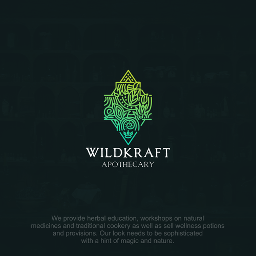Doodle logo with the title 'wild aphothecary'