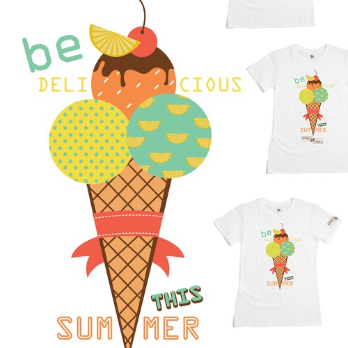 Ice cream t-shirt with the title 'Vintage design for t shirt illustration'