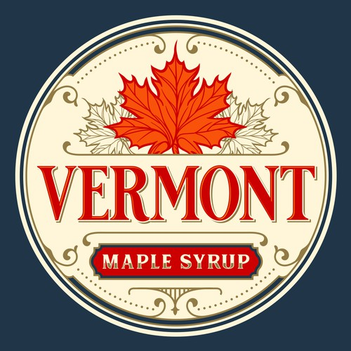 Maple leaf design with the title 'Vermont Maple Syrup'