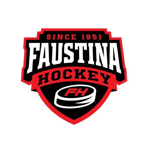 Hockey logo with the title 'FAUSTINA HOCKEY TEAM'