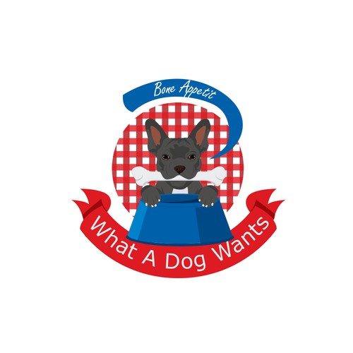Pet food logo with the title 'What a dog wants'