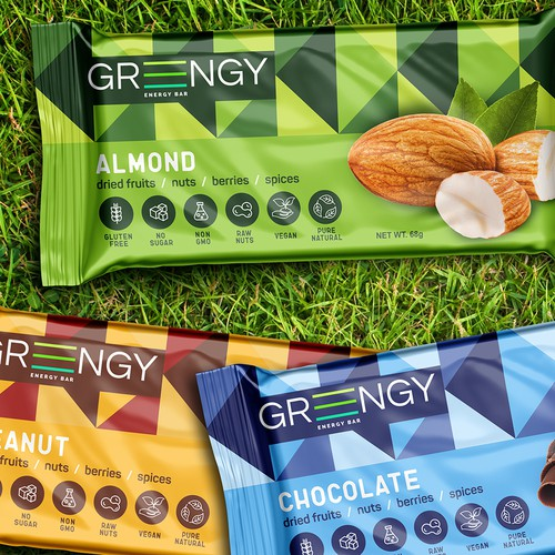 Almond design with the title 'Packing Energy Bar Greengy'