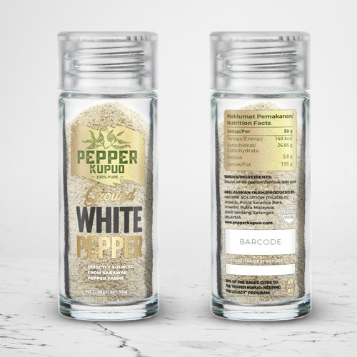Jar label with the title 'package and Logo design'