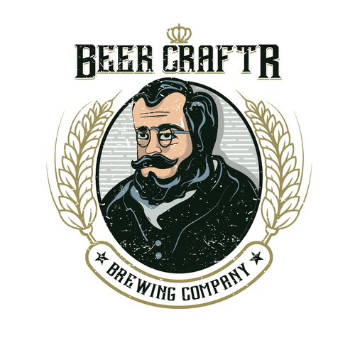 Old man logo with the title 'Create clean, vintage-inspired logo for BeerCraftr'