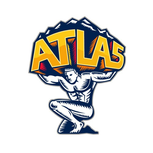 Woodcut logo with the title 'Atlas'