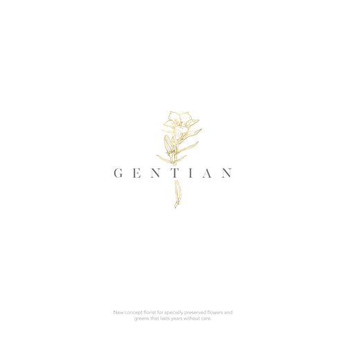Florist logo with the title 'Logo design for Gentian, a new concept florist.'