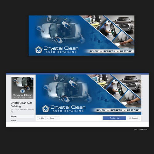 Car design with the title 'Facebook cover for Auto Detailing Company'