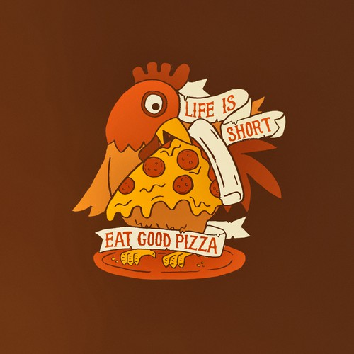 Farm t-shirt with the title 'Farm-Themed Pizza Place T-Shirt Design'