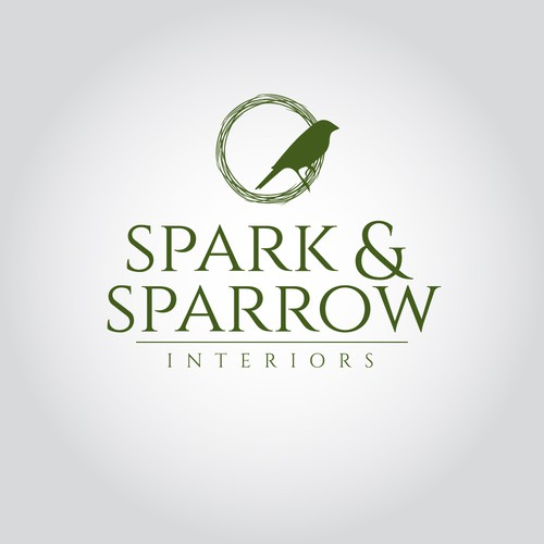 Sparrow logo with the title 'Elegant logo for Interior Decorators'