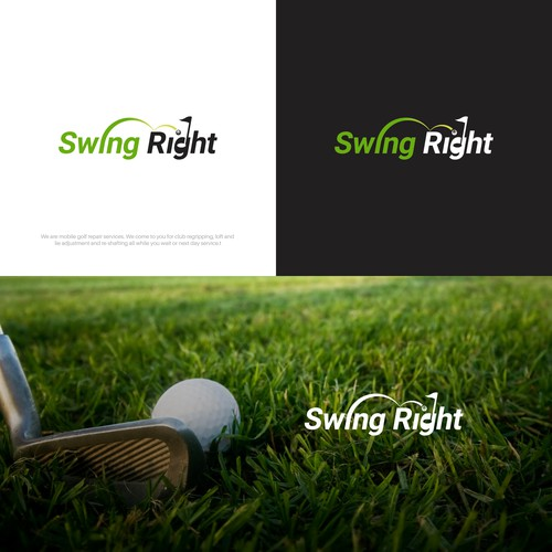 Golf course logo with the title 'Swing to the Right hole.'