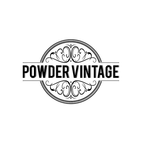 Black and gray logo with the title 'Powder Vintage'