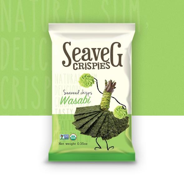 Seaweed design with the title 'Seaveg Crispies'