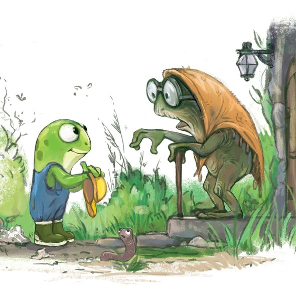 """Frog artwork with the title 'Illustration for the book """"Freddy the Frugal Frog""""'"""
