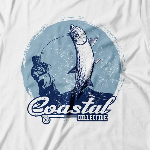 Fishing hook design with the title 'T-shirt design'