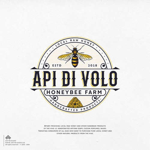 Honey bee logo with the title 'Logo Proposal for Api di Volo'