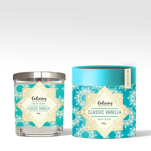 Pattern packaging with the title 'Label and Packaging Design for Candles'
