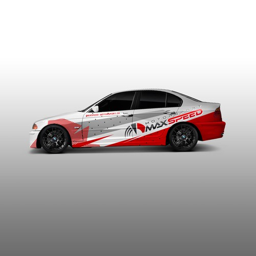 Vinyl design with the title 'MaxSpeed Racing Car wrap'