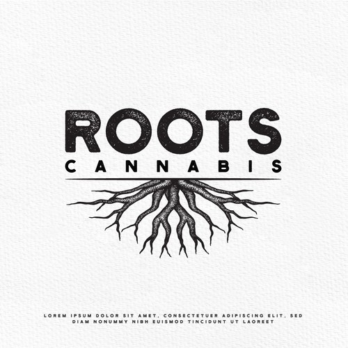 Tree root logo with the title 'Roots Cannabis'