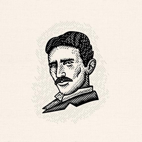 Portrait design with the title 'Nikola Tesla famous portrait'