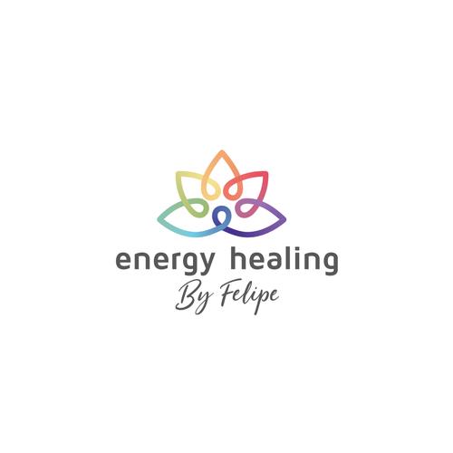 Meditation logo with the title 'Awesome Energy Healing logo - Mix of Meditation, Chakras, Nature'