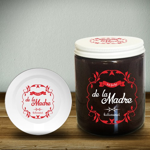Print label with the title 'print label for Hot Fudge jar packaging'