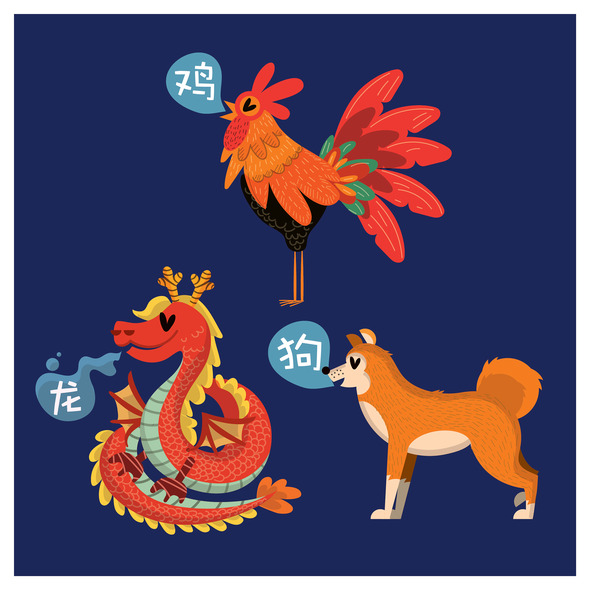 Rooster illustration with the title 'Chinese Zodiac Animal Illustration'