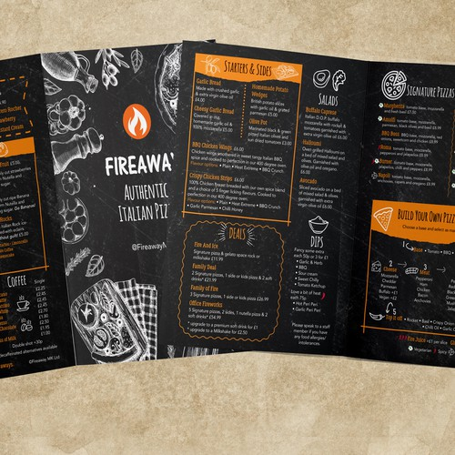 Pizza design with the title 'Fun & quirky pizza menu'