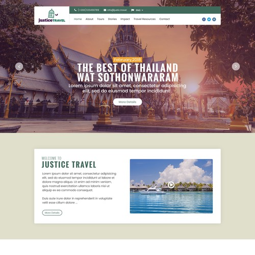 Attractive website with the title 'Justice-Travel_Home_Page'