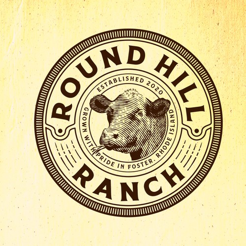 Scratchboard design with the title 'Round Hill Ranch logo'