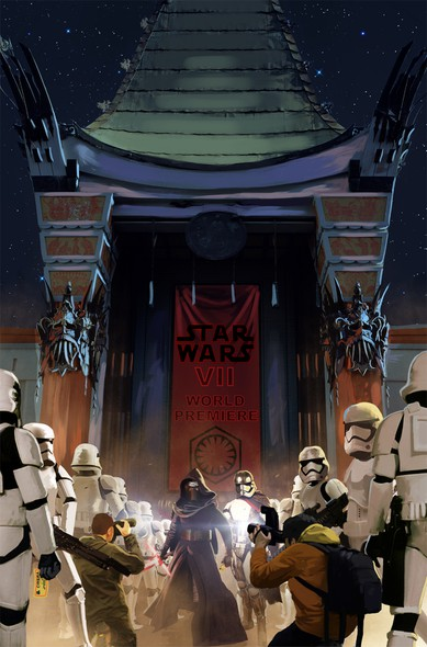 Star Wars artwork with the title 'Comical illustration of Kylo Ren and Stormtroopers in line to see Star Wars VII @ Chinese Theatre'
