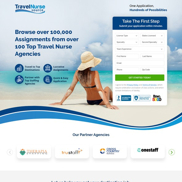 Travel agency design with the title 'Landing Page- Travel Nurse Source'