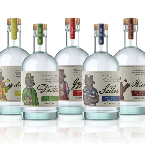 Lemon label with the title 'Labels and illustrations for Tiny Bear Distillery's spirits'