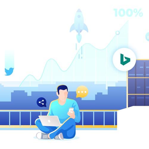 Marketing artwork with the title 'Modern Digital Marketing Illustration'