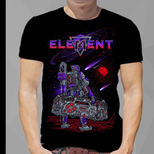 Space t-shirt with the title 'robot space meet game t shirt '