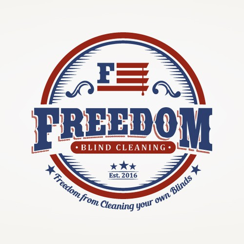 Patriotic logo with the title 'Vintage Patriotic Logo for a Blinds Cleaning Company'
