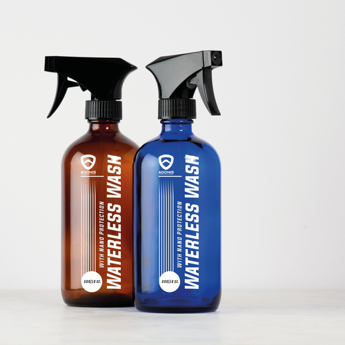 Car packaging with the title 'Waterless car wash label design'