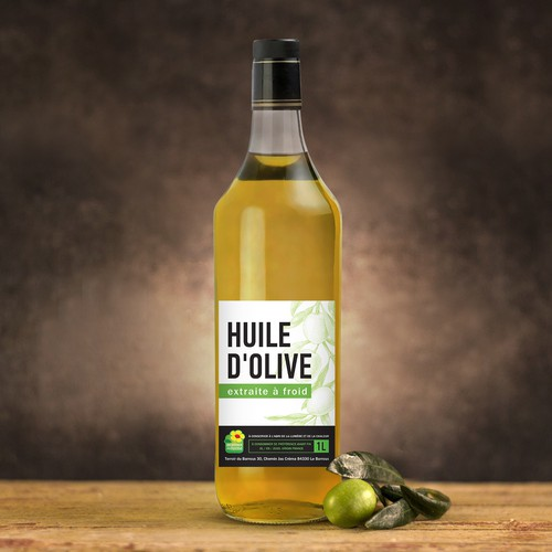 Crafted design with the title 'Huile d'olive'
