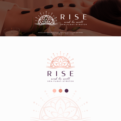 Gold and green logo with the title 'Rise'